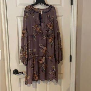 Long sleeve floral purple dress